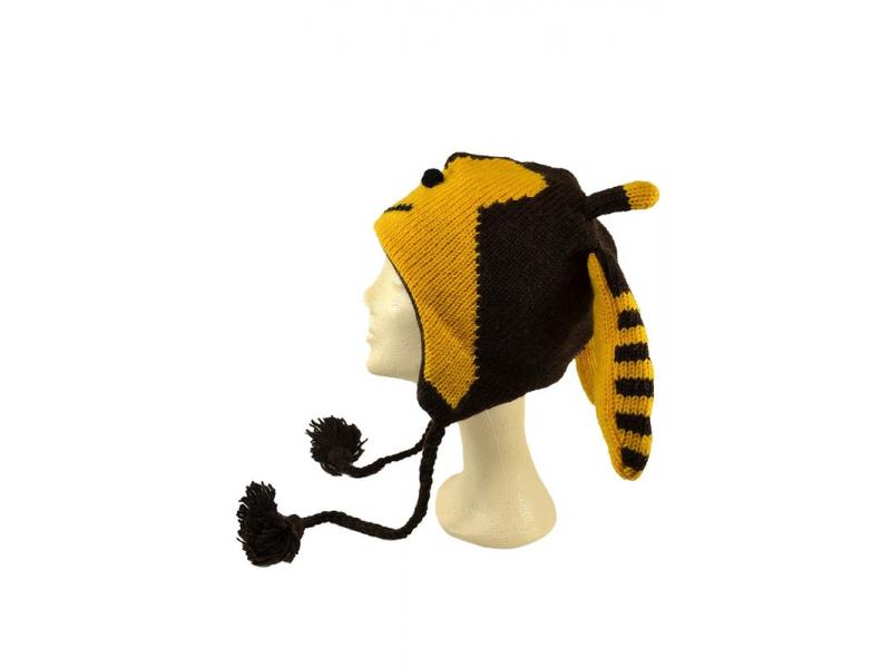 Čepice s ušima, včelka, vlna, podšívka