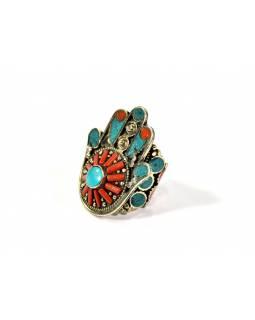 Masivní prsten vykládaný pohodrahokamy, tibetský design, Hamsa vel.58