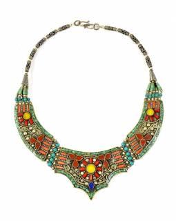 Tibetský náhrdelník vykládaný polohrahokamy, zapínání