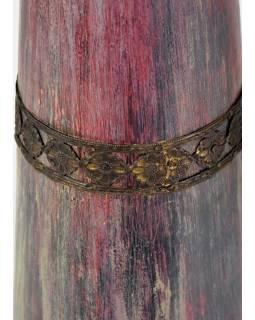 Váza z palmového dřeva, zdobená mosazným kováním, 12x12x58cm