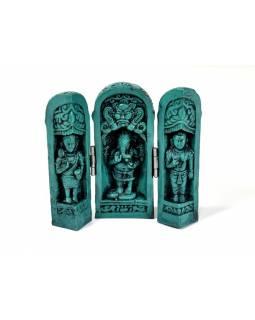 Ganesh, cestovní oltář, tyrkysový, pryskyřice, 11 cm