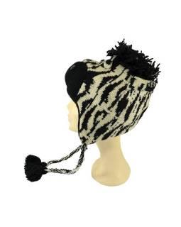 Čepice s ušima, zebra, vlna, podšívka