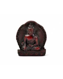 """Buddha léčitel, mini, """"stone"""", hnědo červený, pryskyřice, 4cm"""