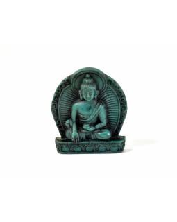 "Buddha léčitel, mini, ""stone"", tyrkysový, pryskyřice, 4cm"