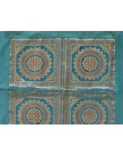 Ubrus na stůl, tyrkysový, mandaly, brokát, 100x100cm