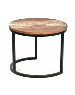 Kulatý konferenční stolek v Goa stylu z teakového dřeva, 51x51x40cm