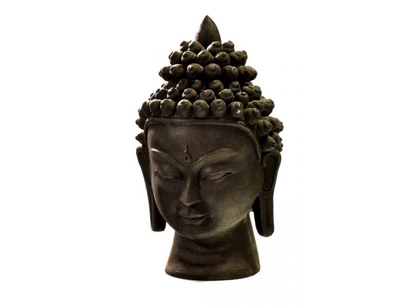 Buddhova hlava, keramika, černá, 40 cm