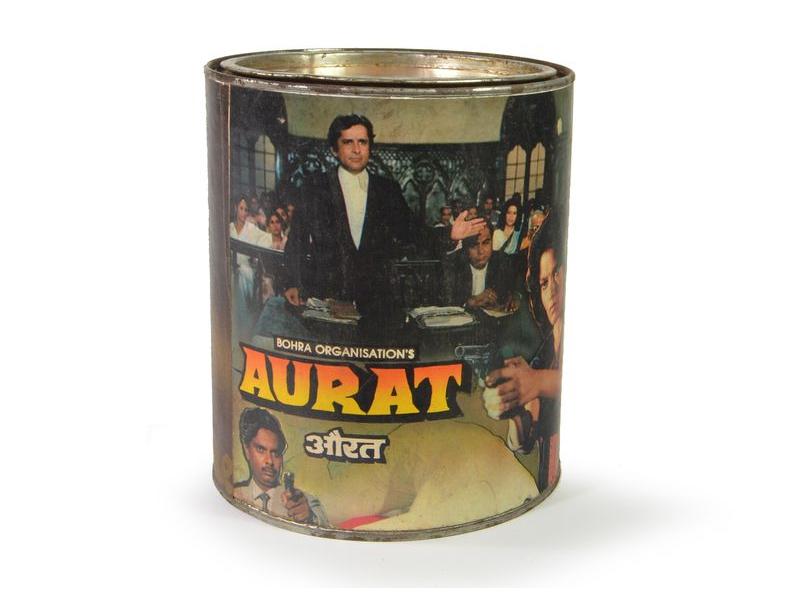 """Antik plechová krabice  """"Aurat"""", kulatá, průměr 14cm, výška,16cm"""