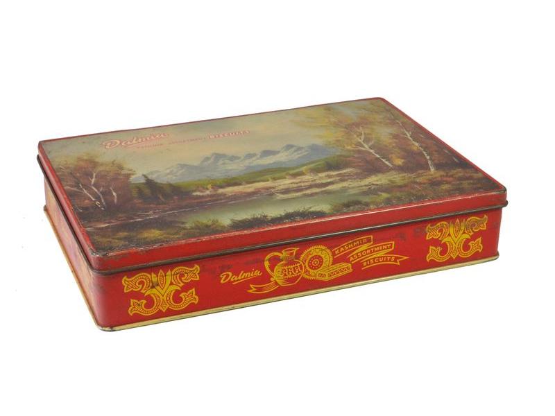 Antik plechová krabice, Dalmia, 24x16x6cm