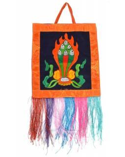 Budhistická dekorace, výšivka, 21x24 cm, třásně