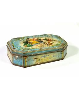 Antik plechová krabice, Piknik, 15x10x4cm