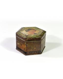 Antik plechová krabice, Sonal, 9x9x5cm