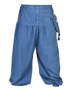 Unisex balonové kalhoty s kapsami, výšivka, petrolejová