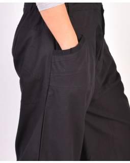 Unisex balonové kalhoty zapínané na zip a knoflík, černá