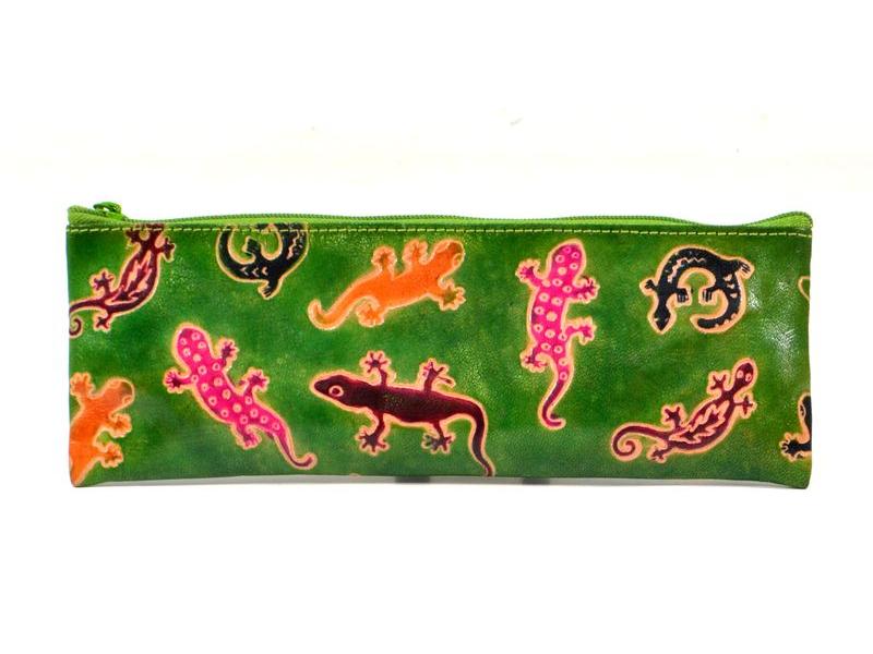 """Penál design """"Lizards"""", ručně malovaná kůže, zelená, 22x7,5cm"""