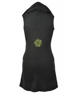 Černo-zelené šaty s kapucí/límcem, bez rukávu, potisk a výšivka mandaly