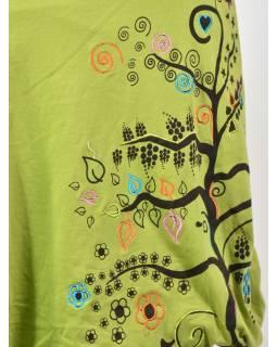Krátká zelená balonová sukně, Tree design, kombinace tisku a výšivky