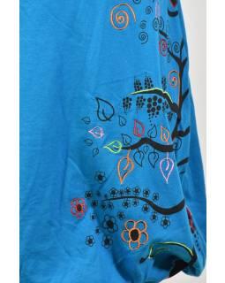 Krátká tyrkysová balonová sukně, Tree design, kombinace tisku a výšivky