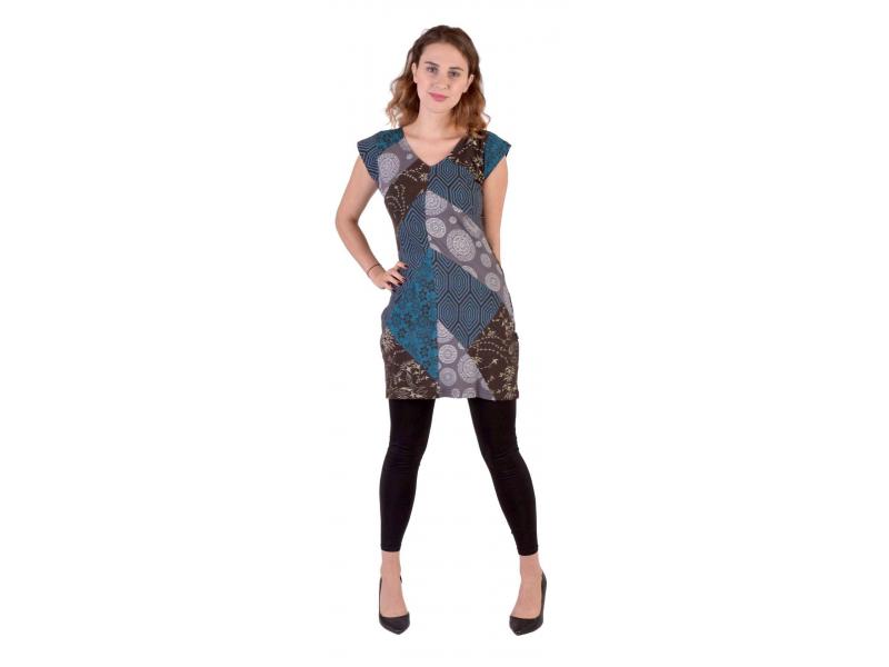 Krátké šaty s krátkým rukávem, modro-šedý patchwork, Patch design