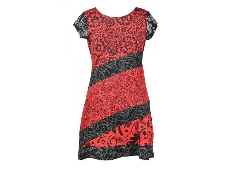 Černo-červené šaty s květinovým potiskem a krátkým rukávem