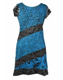 Tyrkysové šaty s květinovým potiskem a krátkým rukávem