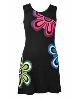 Černé šaty bez rukávu s květinami
