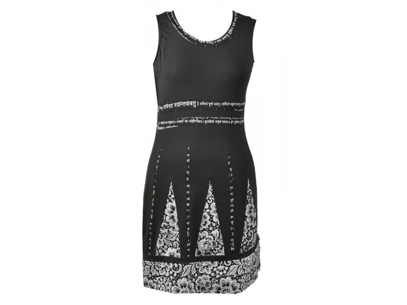 Černé šaty bez rukávu s potiskem mantry a květin, bio bavlna