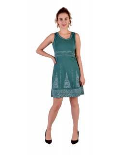 Zelené šaty bez rukávu s potiskem mantry a květin, bio bavlna