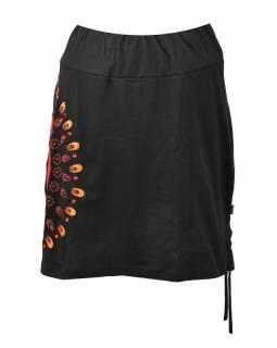 Krátká černá sukně s potiskem a stahovací šňůrkou, pružný pas