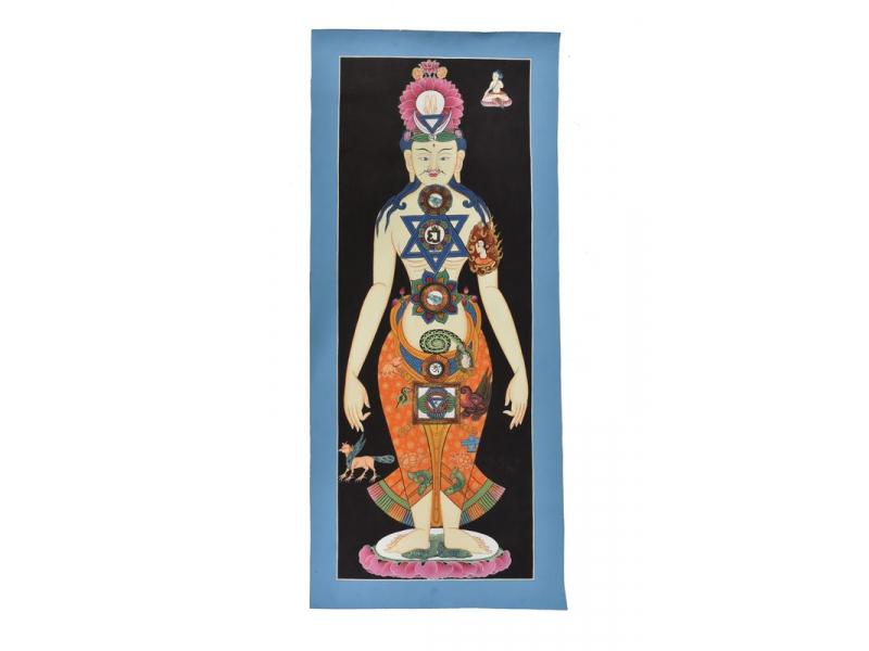 Tanka, Yoga, malba na plátně, 30x70cm
