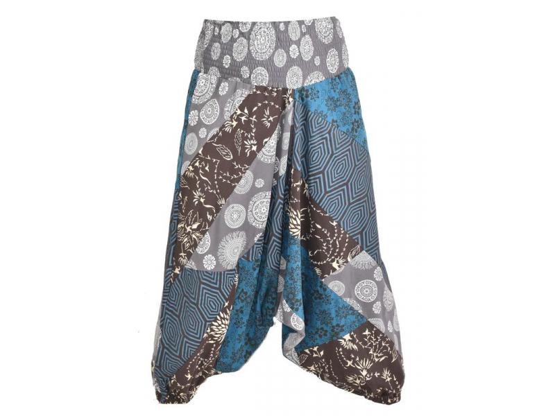 """Turecké kalhoty, dlouhé, modro-šedé, """"Patch design"""", patchwork"""