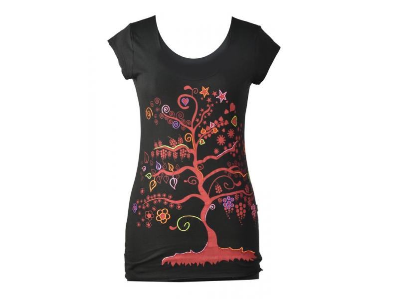 """Černé tričko s krátkým rukávem a černým potiskem """"Tree"""" design"""