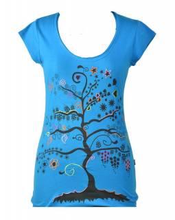 """Tyrkysové tričko s krátkým rukávem a černým potiskem """"Tree"""" design"""