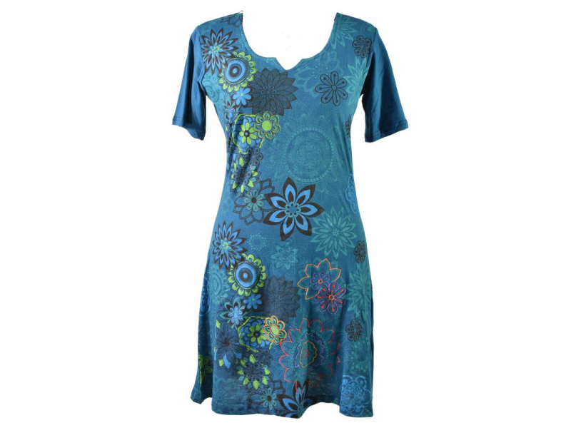 Petrolejové šaty s krátkým rukávem, květinový barevný potisk