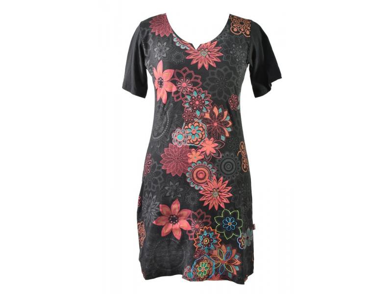 Černo-červené šaty s krátkým rukávem, květinový barevný potisk