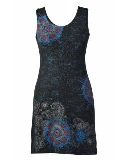 Krátké černé šaty bez rukávu, barevný potisk mandala