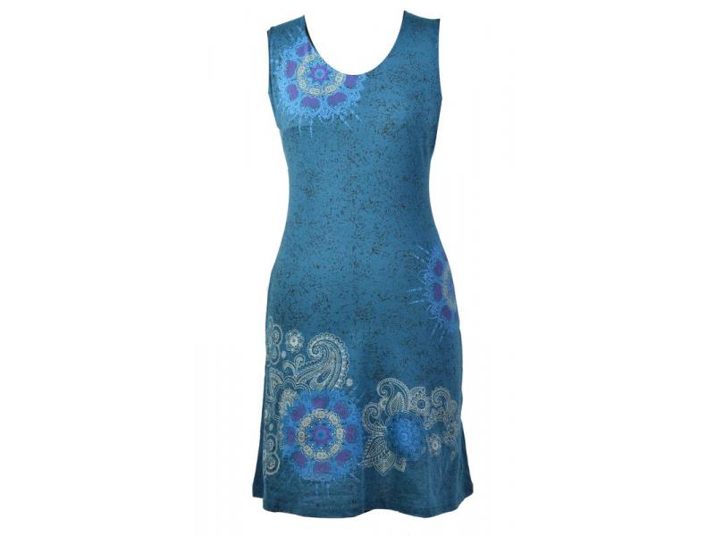 Modré šaty bez rukávu, barevný potisk mandala