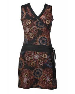 Černé šaty bez rukávu s mandala potiskem, šňůrka, výšivka