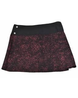 Krátká černo-vínová sukně zapínaná na patentky, mandala potisk