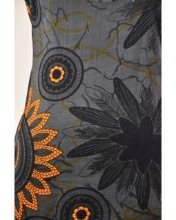 Šedé šaty s krátkým rukávem a potiskem flower mandala