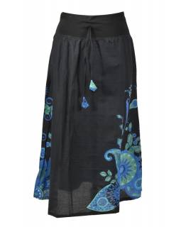 Dlouhá černá sukně s potiskem, elastický pas, šňůrka