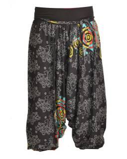 Černé turecké kalhoty s vysokým pasem, potisk