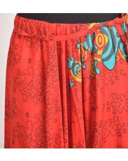 Červené turecké kalhoty s vysokým pasem, potisk