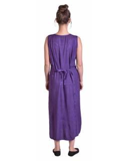 Dlouhé volné fialové šaty bez rukávu, výšivka, vázání na zádech
