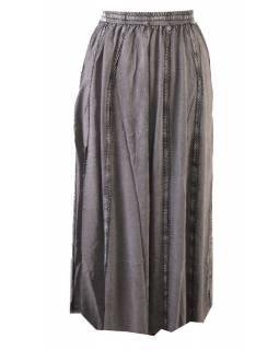 Dlouhá sukně s výšivkou, pružný pas, šedá