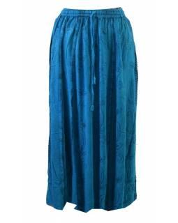 Dlouhá sukně s výšivkou, pružný pas, tyrkysová