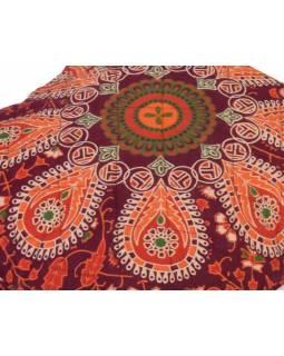 Povlak na polštář z Rajastanu, mandala, sloni, prošívaný, 40x40cm