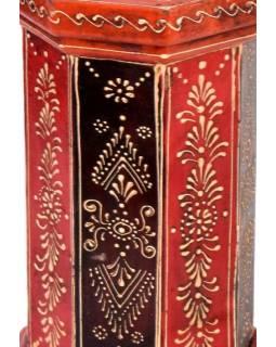 Dřevěný, ručně malovaný svícen, 13x13x23cm