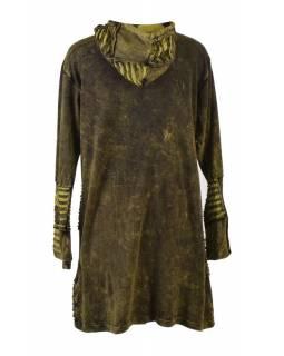 Prodloužená zelená mikina s kapucí, prostřihy a výšivkou, kapsy