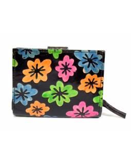 Peněženka, malovaná kůže, květiny, černá, 9,5x12,5cm